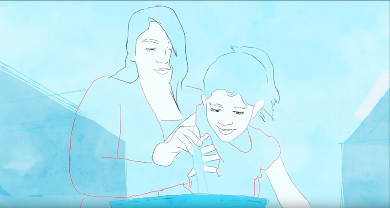 Animated woman holding a girl who is stirring food in a bowl