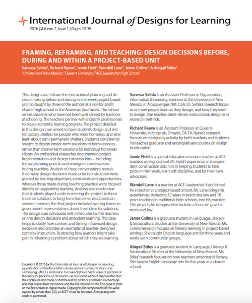 Screenshot of FRAMING, REFRAMING, AND TEACHING: DESIGN DECISIONS BEFORE, DURING AND WITHIN A PROJECT-BASED UNIT article