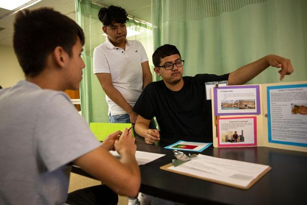 Health Leadership High School students collaborating