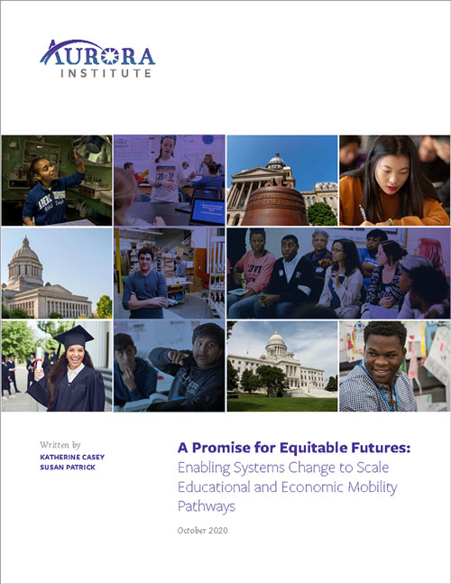 """Thumbnail image of the book cover, titled """"A Promise for Equitable Futures: Enabling Systems Change to Scale Educational and Economic Mobility Pathways"""""""